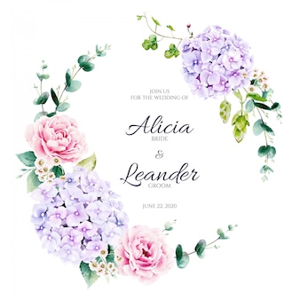 Hydrangea flower and greenery wreath . watercolor style.