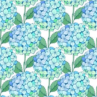 수국 꽃 완벽 한 패턴입니다. 파란색 녹색 꽃잎, 줄기 및 흰색에 나뭇잎. 인쇄, 직물, 섬유, 벽지에 대한 벡터 텍스처.