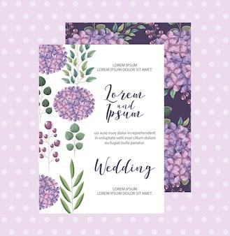 アジサイの花の装飾花のウェディングカードの挨拶