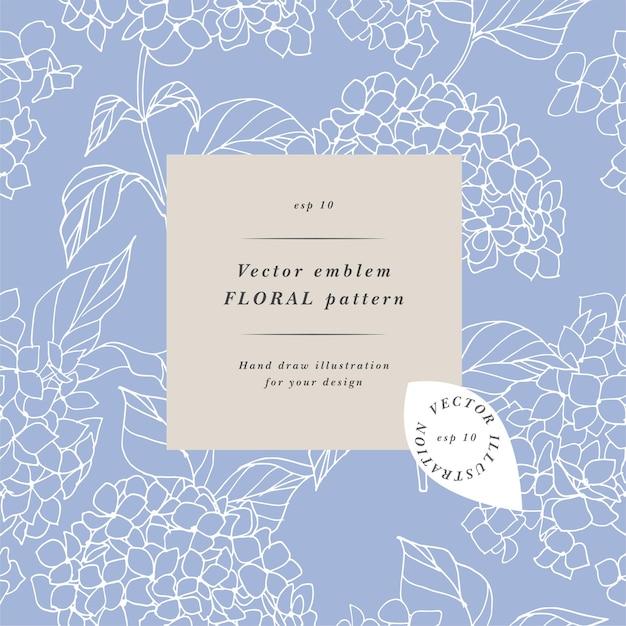 수국 꽃입니다. 꽃 화환. 레이블 디자인이 있는 flowershop용 꽃 프레임입니다. 화장품 포장을 위한 완벽 한 패턴입니다.