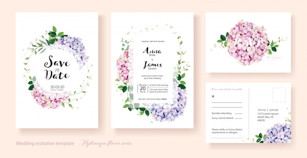 Hydrangea flowers wedding invitation