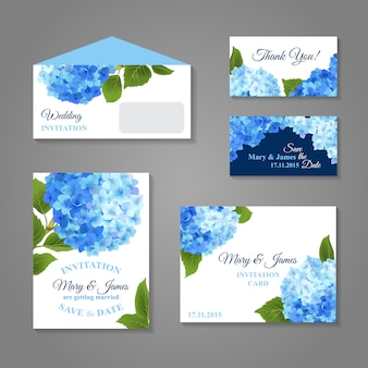 Hydrangea invitations set