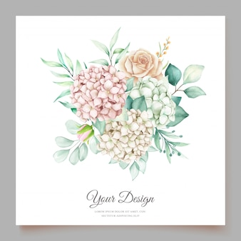 Hydrangea watercolor wedding invitation card template