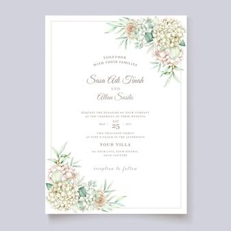 アジサイ水彩結婚式の招待カードテンプレート