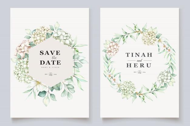 Гортензия акварель свадебное приглашение шаблон