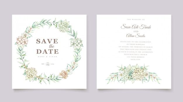 Modello di carta di invito matrimonio acquerello ortensia