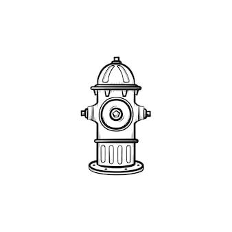 ハイドラント手描きアウトライン落書きアイコン。消防士の機器-白い背景で隔離の印刷物、ウェブ、モバイル、インフォグラフィックの消火栓ベクトルスケッチイラスト。