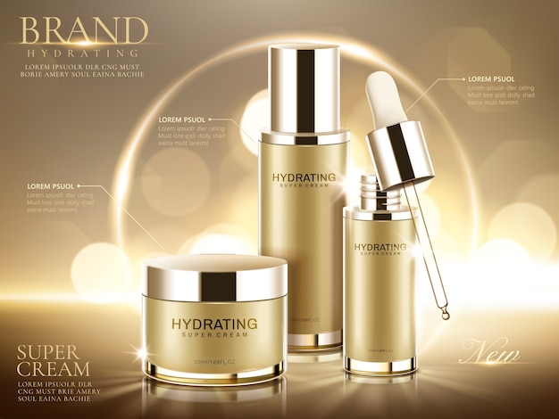 Hydrating cosmetic product ads, champagne gold containers  on glittering bokeh background in  illustration