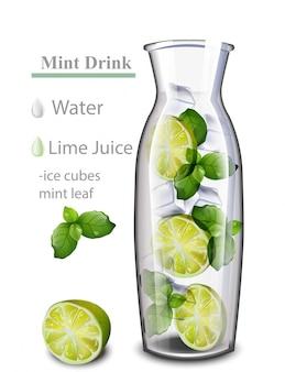 ハイドレイトデトックスウォータードリンク。ライムとミントの香り。ガラス瓶で現実的な新鮮な飲み物