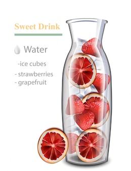 ハイドレイトデトックスウォータードリンク。ストロベリーとレッドオレンジの味。ガラス瓶で現実的な新鮮な飲み物