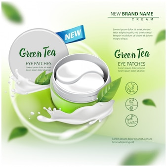Hydrating under eye gel patches advertising for catalog, magazine. illustration with eye gel patches open container