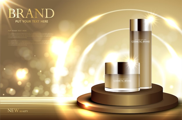 Hydrating facial cream for annual sale or festival sale silver and gold cream mask bottle isolated
