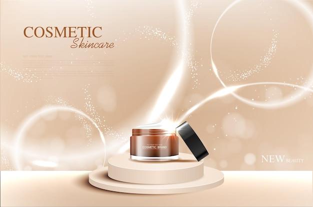 연간 판매 또는 축제 판매를 위한 하이드레이팅 페이셜 크림 은색 및 갈색 크림 마스크 병 격리