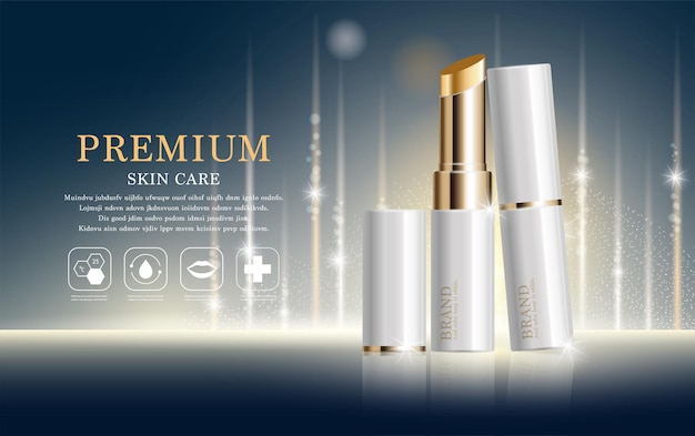 Hydrating facial lipstick for annual sale or festival sale. white and gold lipstick mask bottle.