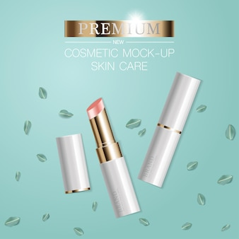Hydrating facial lipstick for annual sale or festival sale white and gold lipstick mask bottle