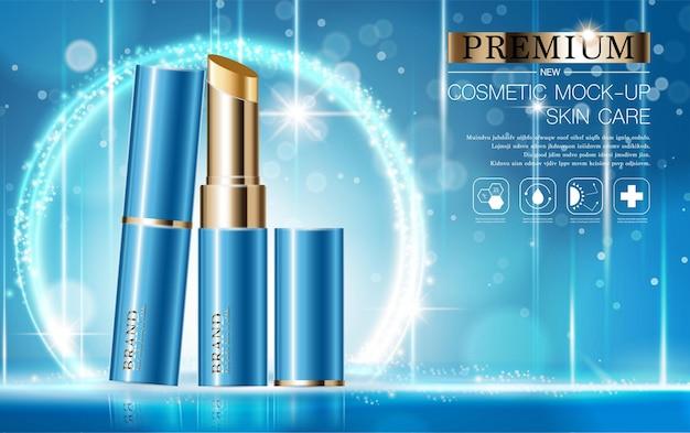연간 판매 또는 축제 판매 파란색과 금색 립스틱 마스크 병에 대한 수화 페이셜 립스틱
