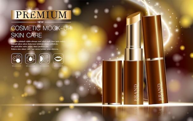 연간 판매 또는 축제 판매 갈색과 금색 립스틱 마스크 병에 대한 수화 페이셜 립스틱