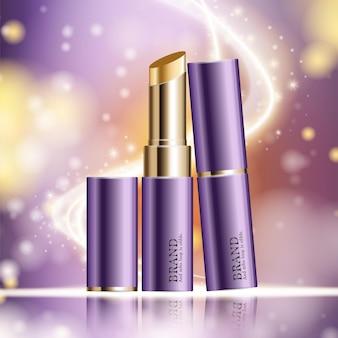 연간 판매 또는 축제 판매 보라색과 금색 립스틱 마스크 병에 대한 수화 페이셜 립스틱