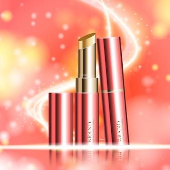 연간 판매 또는 축제 판매를 위한 수화 페이셜 립스틱 빨간색과 금색 립스틱 마스크 병