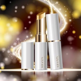 연간 판매 또는 축제 판매 흰색과 금색 립스틱 마스크 병에 대한 수화 페이셜 립스틱