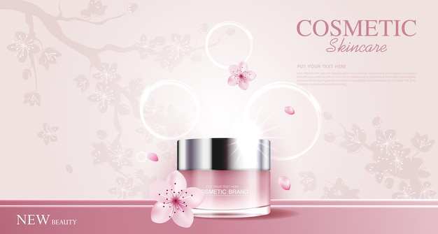 Hydrating facial sakura cream for annual sale or festival sale pink cream mask bottle isolated