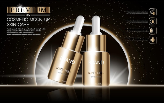 Hydrating facial serum for annual sale or festival sale silver and gold serum mask bottle isolated