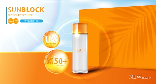 Hydrating facial sunscreen for annual sale or festival sale orange cream mask bottle isolated