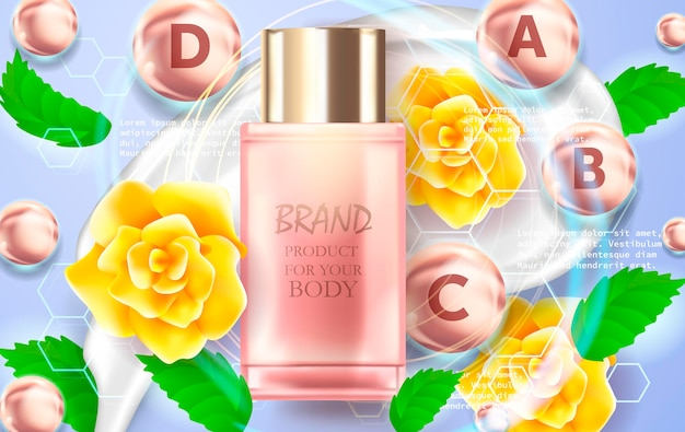 Hydrating toner contained in a bottle, with yellow flowers, blue background  illustration