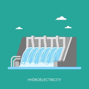 水力発電所および工場。水力エネルギー産業の概念、フラットスタイルのイラスト。水力発電所の背景。再生可能エネルギー源。
