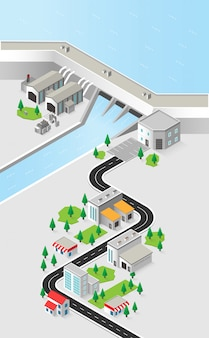 Hydro power plant, dam with hydro turbine in isometric graphic