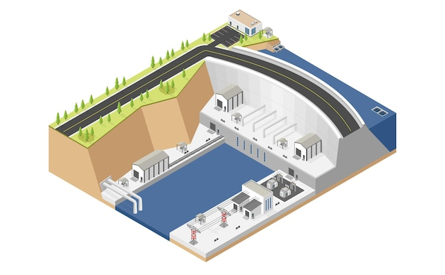 Hydro power plant dam with hydro turbine in isometric style