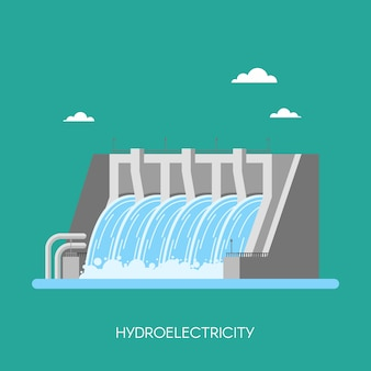 Hydro power plant and factory. hydro energy industrial concept, illustration in flat style. hydroelectric station background. renewable energy sources.