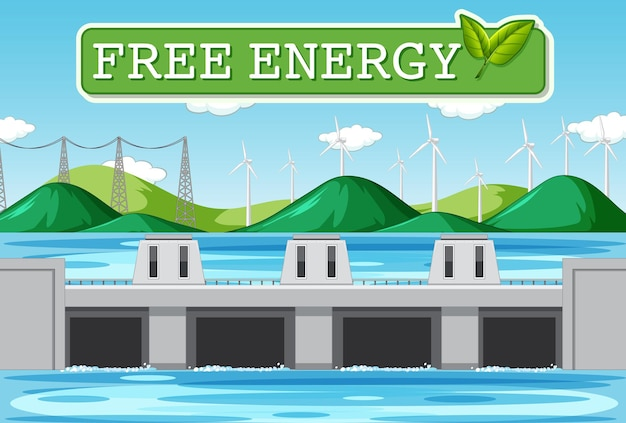 Hydro power plants generate electricity with free energy banner