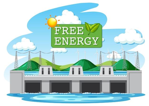 수력 발전소는 무료 에너지 배너로 전기를 생성합니다.