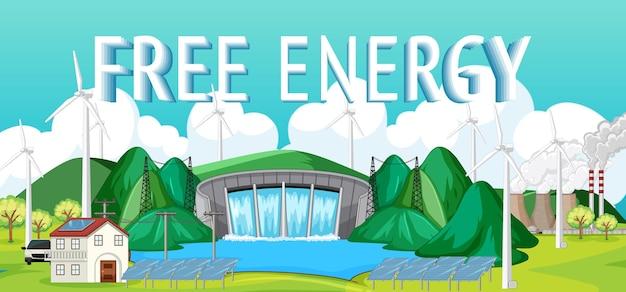 水力発電所は自由エネルギーバナーで発電します