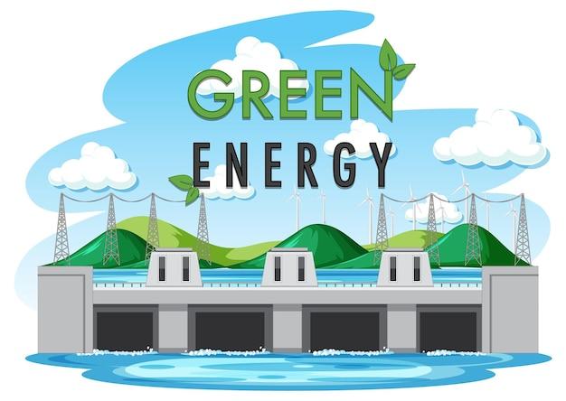 水力発電所はグリーンバナーで発電します