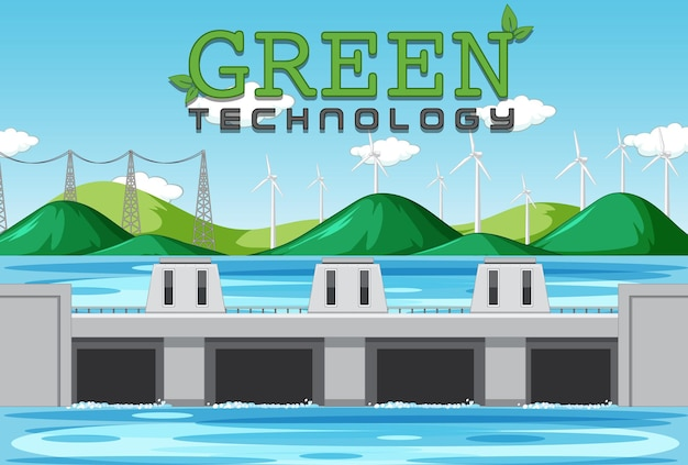Hydro power plants generate electricity with green banner