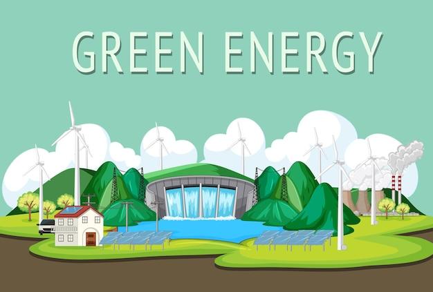 Гэс вырабатывают электроэнергию с зеленым знаменем