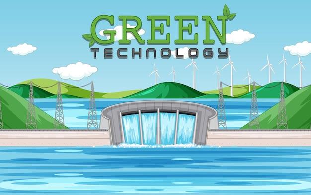 수력 발전소는 녹색 배너로 전기를 생성합니다.