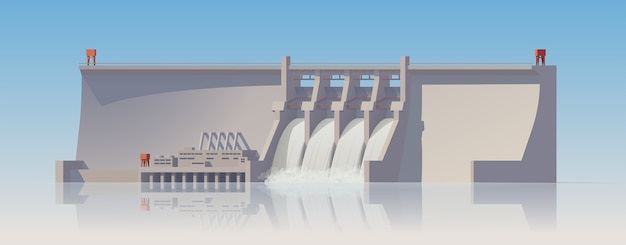 Hydroelectric power plant. power station on white background.  illustration. collection