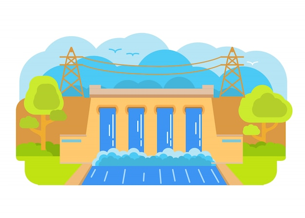 Гидроэлектростанция. дамба гэс. гидроэнергетика. гидротурбины генерируют электричество.