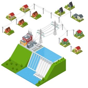 Изометрический вид концепции альтернативной энергии гидроэлектростанции. плотина на реке с домами и строением электропередачи.