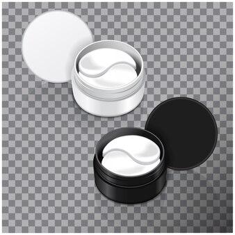 Гидрогелевые пластыри для глаз. иллюстрация реалистичного контейнера с пластырями для глаз