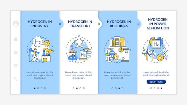 Шаблон вектора адаптации потребления водорода. адаптивный мобильный сайт с иконками. веб-страница прохождение 4-х шаговых экранов. цветовая концепция здания, производства электроэнергии с линейными иллюстрациями