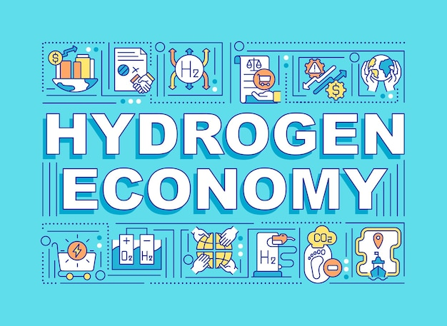 Hydrogen economy word concepts banner. ecological fuel.