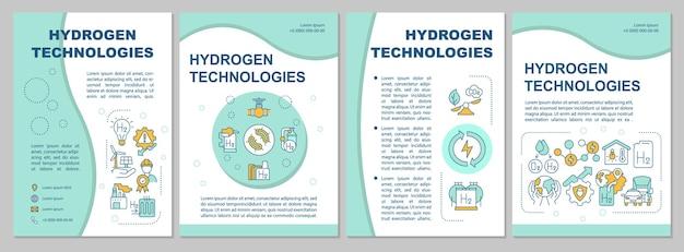 수소 기술 브로셔 템플릿입니다. 에너지 사용. 전단지, 소책자, 전단지 인쇄, 선형 아이콘이 있는 표지 디자인. 프레젠테이션, 연례 보고서, 광고 페이지용 벡터 레이아웃