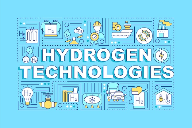 Hydrogen technologies word concepts banner. revolutionary energy source.