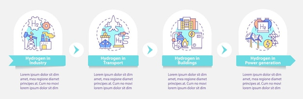 Hydrogen usage vector infographic template. h2 in transport presentation outline design elements. data visualization with 4 steps. process timeline info chart. workflow layout with line icons