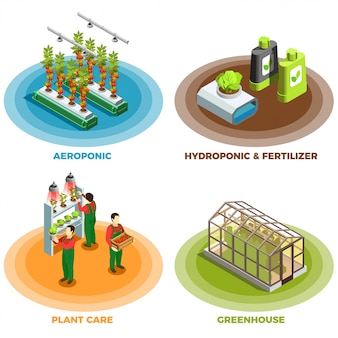 Hydroponic and aeroponic 2x2 design concept