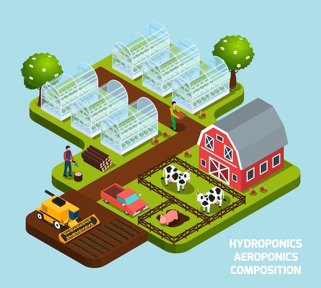 Hydroponics isometric composition